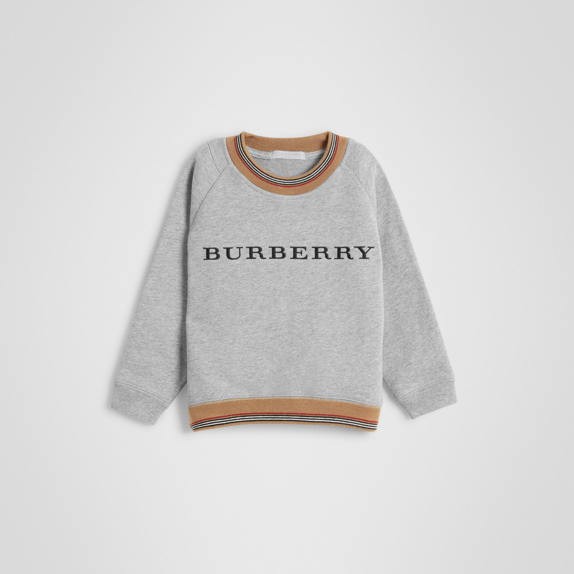 Icon Stripe Detail Embroidered Cotton Sweatshirt in Grey Melange | Burberry - gallery image 0