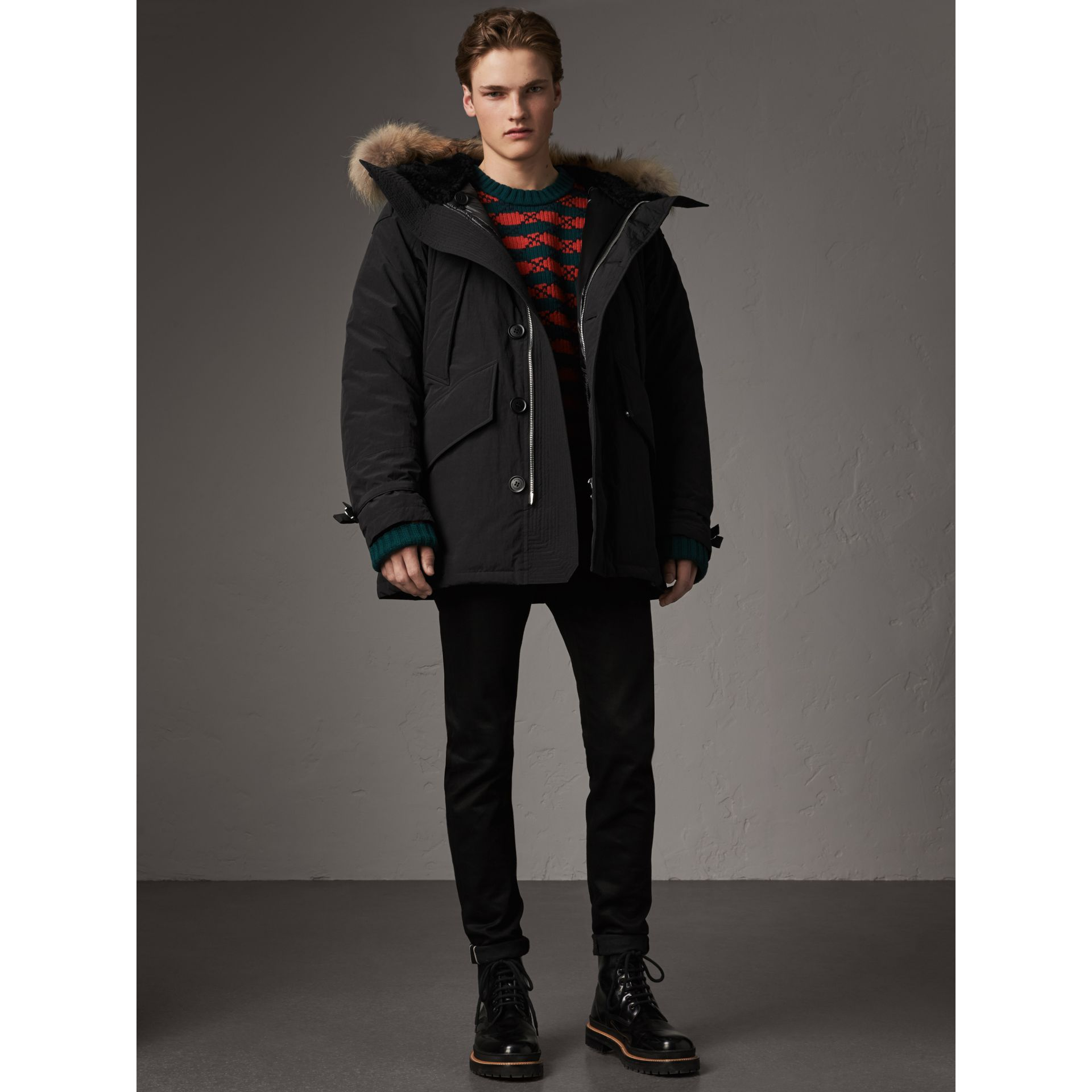 Raccoon Fur Trim Shearling Hood Down-filled Parka in Black - Men | Burberry - gallery image 1