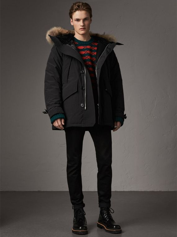 Raccoon Fur Trim Shearling Hood Down-filled Parka in Black