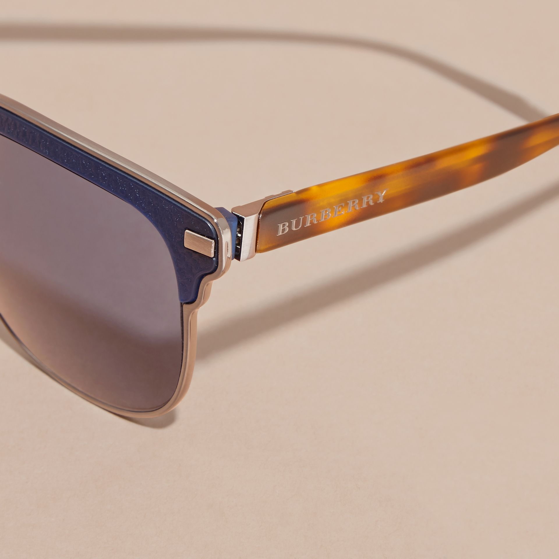 Textured Front Square Frame Sunglasses in Dark Navy - Men | Burberry - gallery image 1