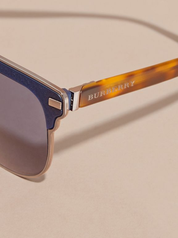 Textured Front Square Frame Sunglasses in Dark Navy - Men | Burberry United States - cell image 1