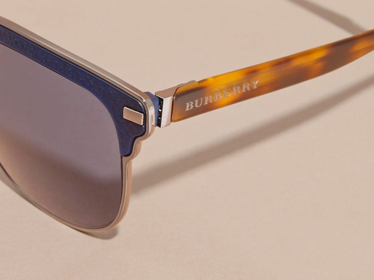 Textured Front Square Frame Sunglasses in Dark Navy - Men | Burberry United Kingdom - cell image 1