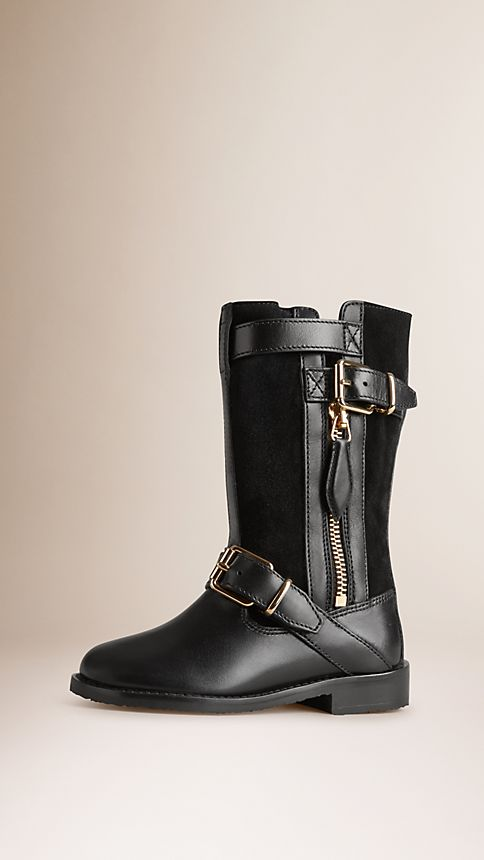 Black Shearling-Lined Leather Biker Boots - Image 1