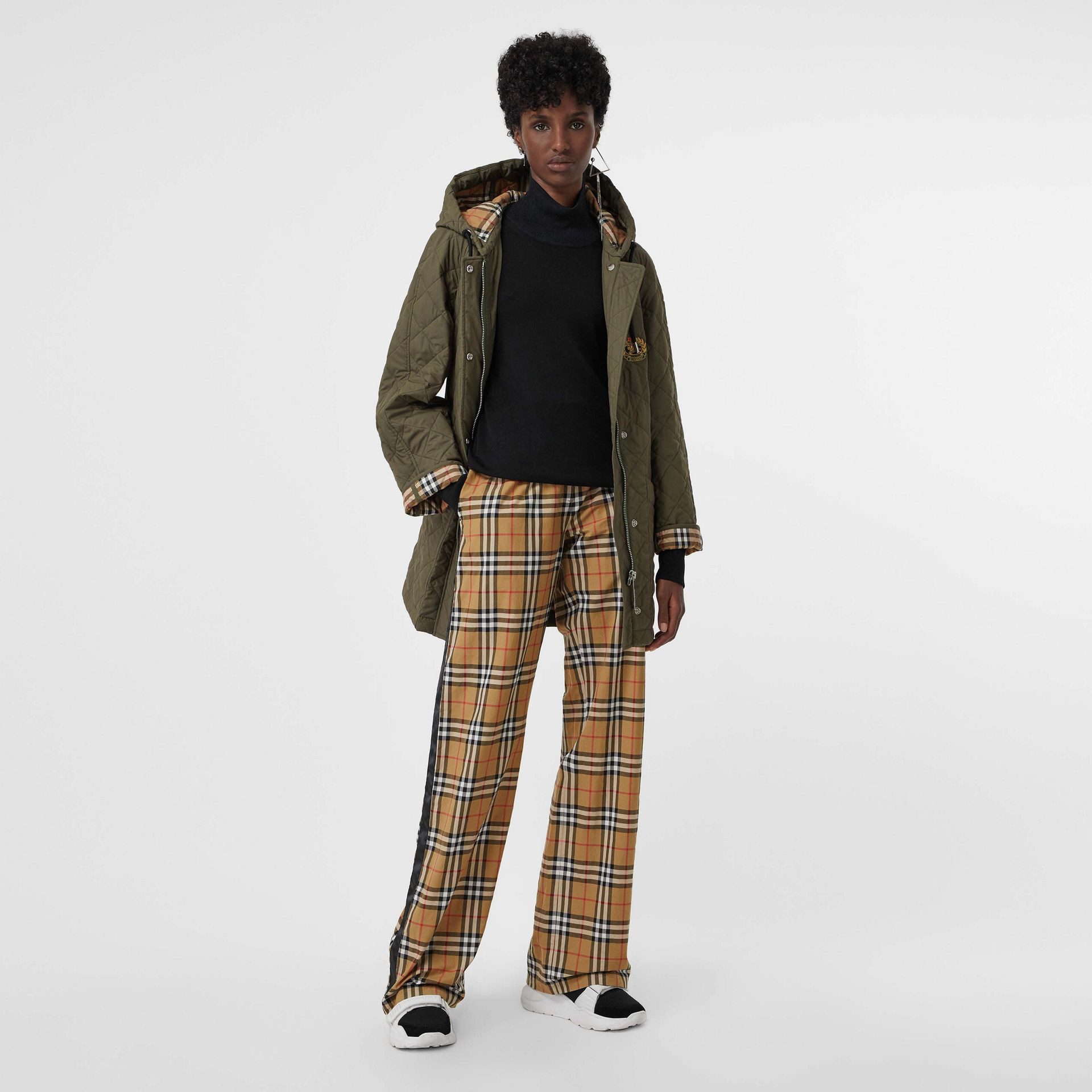 Satin Trim Vintage Check Cotton Trousers in Antique Yellow - Women | Burberry - gallery image 0