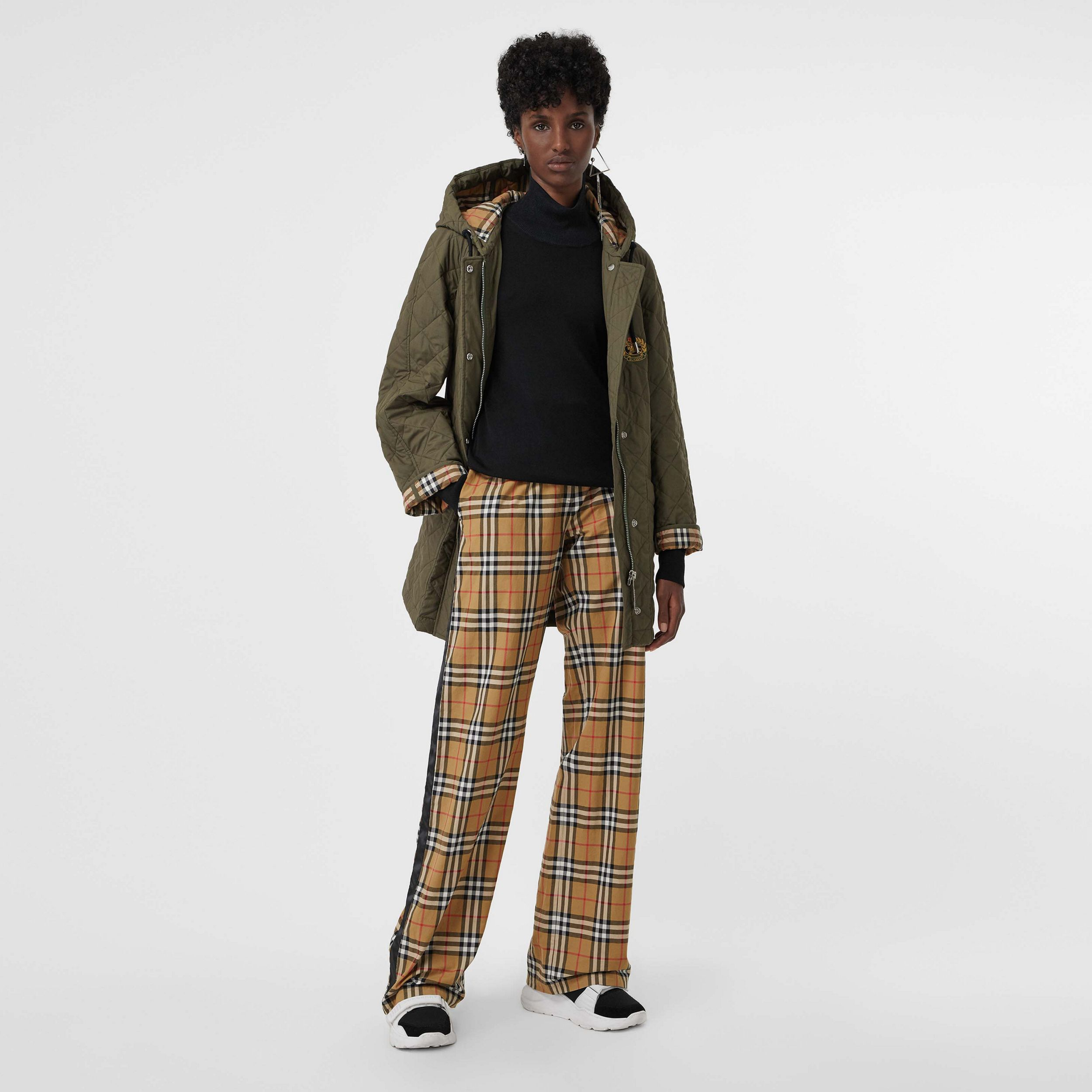 Satin Trim Vintage Check Cotton Trousers in Antique Yellow - Women | Burberry - 1