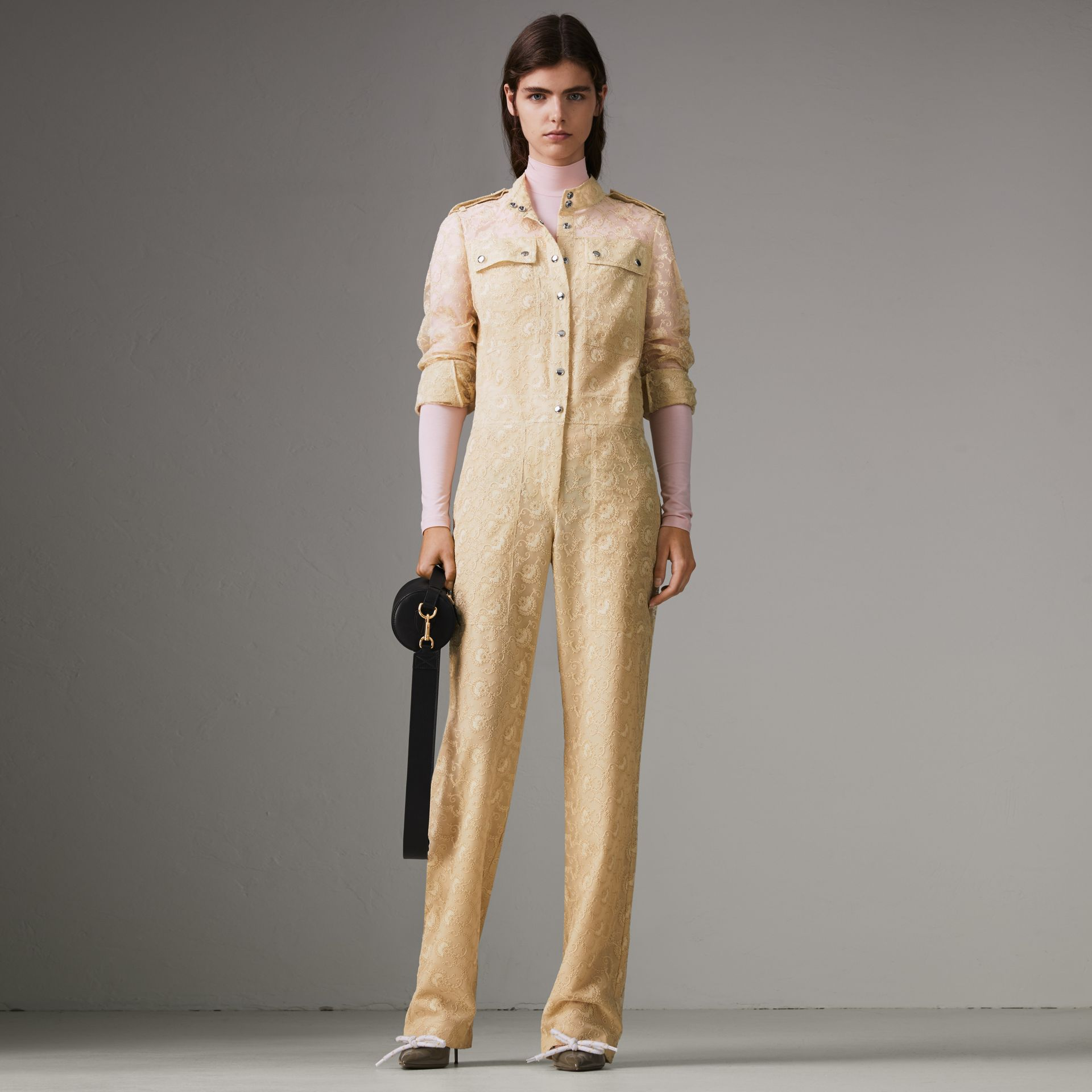 Floral Lace Jumpsuit in Pale Yellow - Women | Burberry - gallery image 0