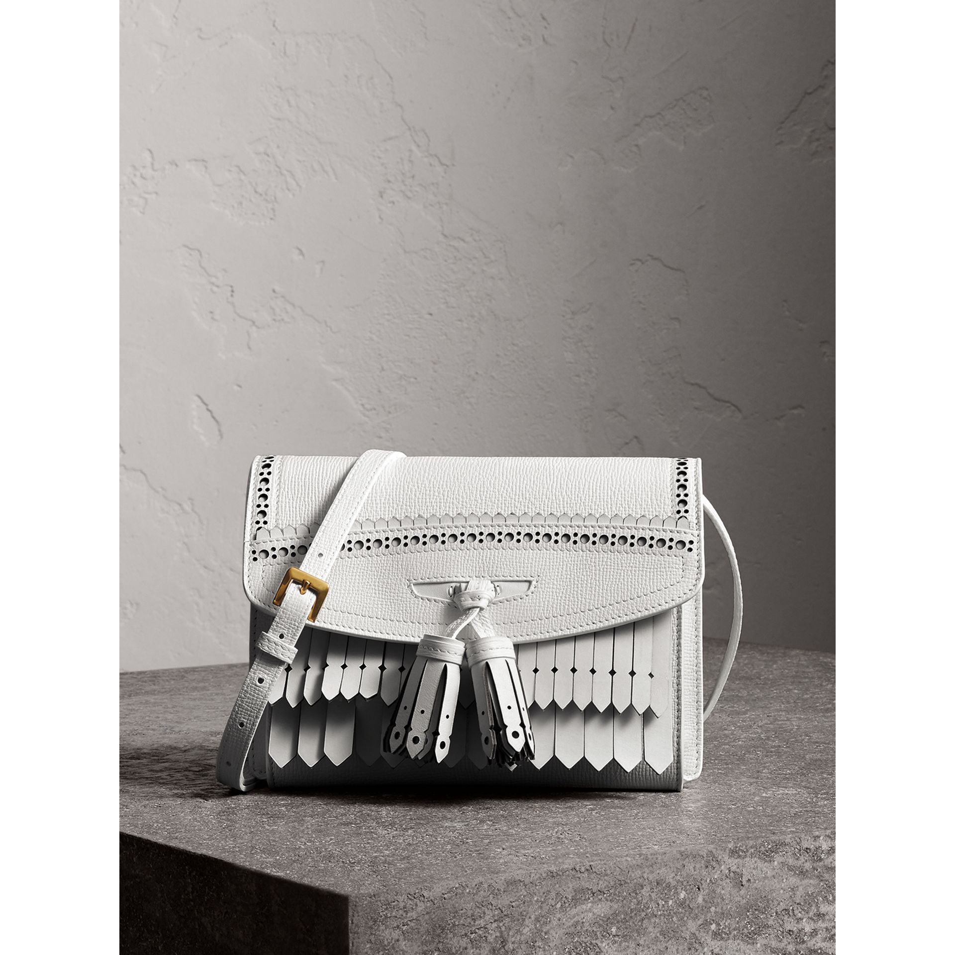 Brogue and Fringe Detail Leather Crossbody Bag in Chalk White - Women | Burberry - gallery image 1