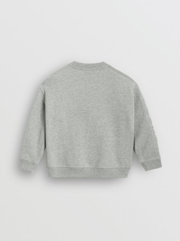 Embossed Logo Cotton Sweatshirt in Grey Melange | Burberry - cell image 3