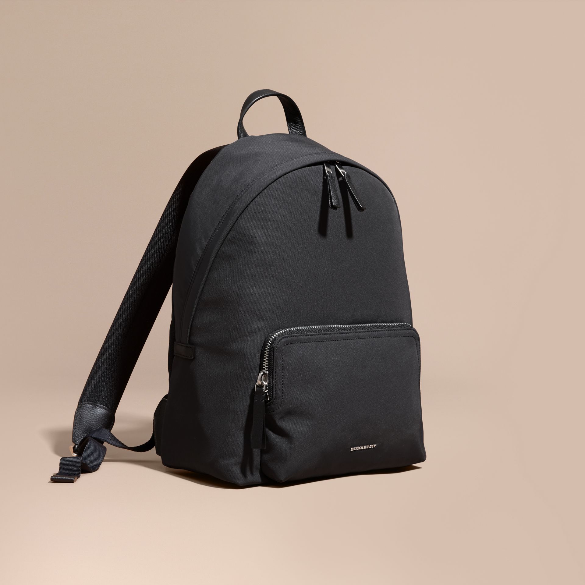 Leather Trim Technical Backpack in Black - gallery image 1
