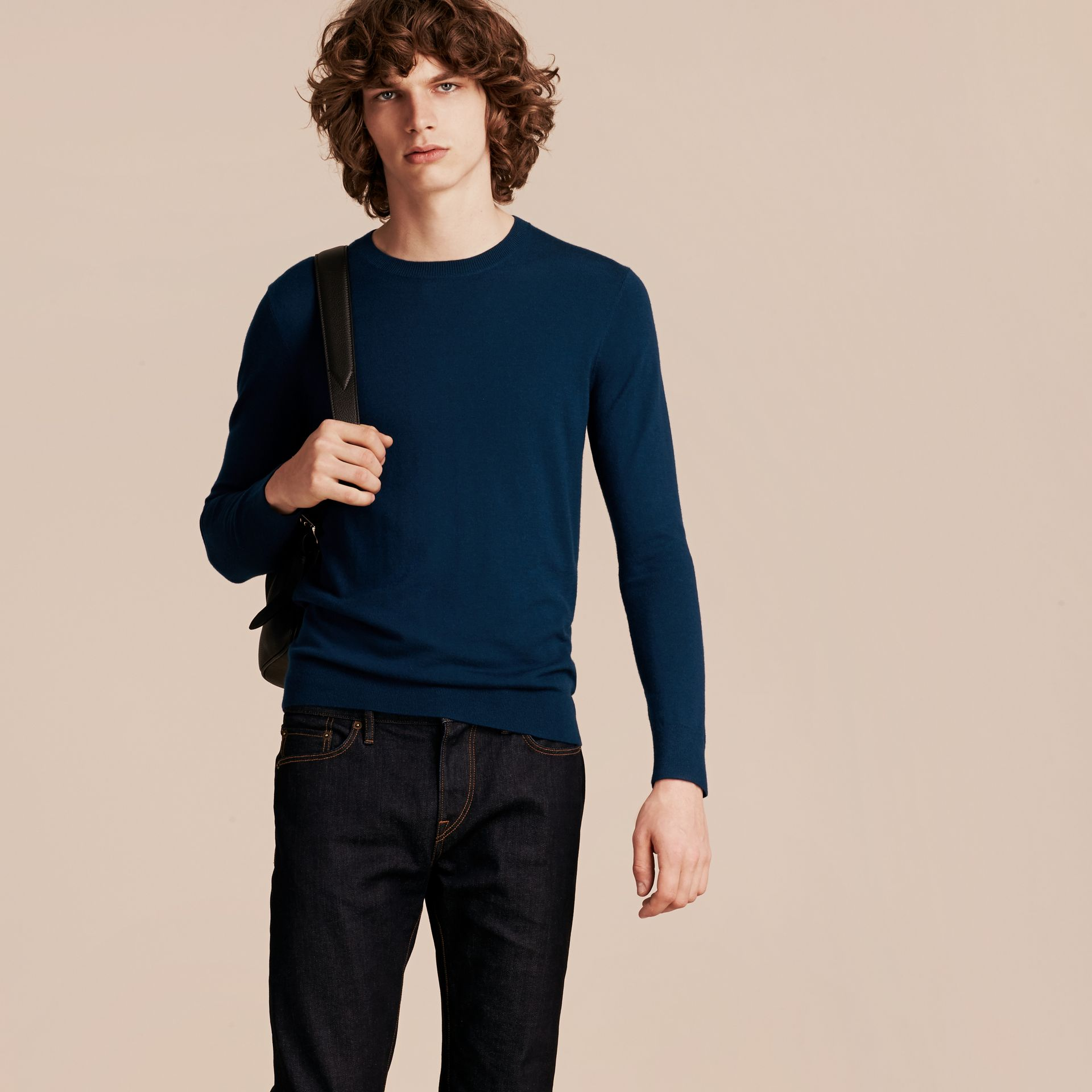 Lightweight Crew Neck Cashmere Sweater with Check Trim in Dark Teal - Men | Burberry - gallery image 6