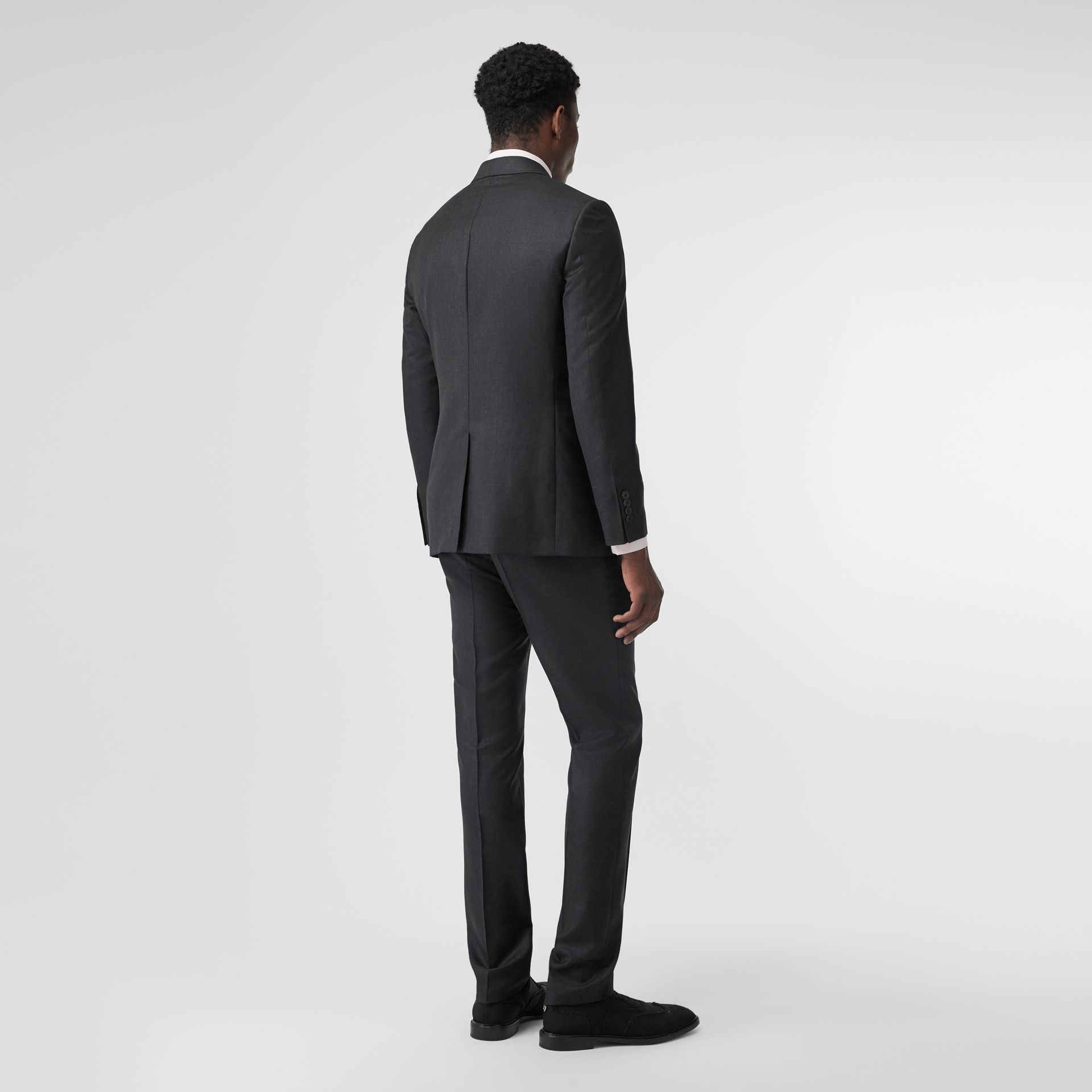 Slim Fit Wool Silk Linen Suit in Dark Grey Melange - Men | Burberry United Kingdom - gallery image 2