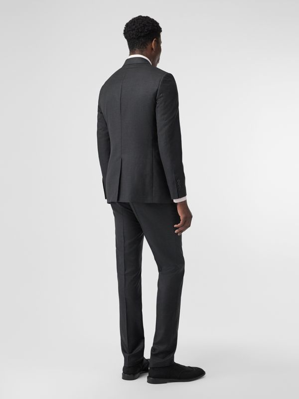 Slim Fit Wool Silk Linen Suit in Dark Grey Melange - Men | Burberry - cell image 2
