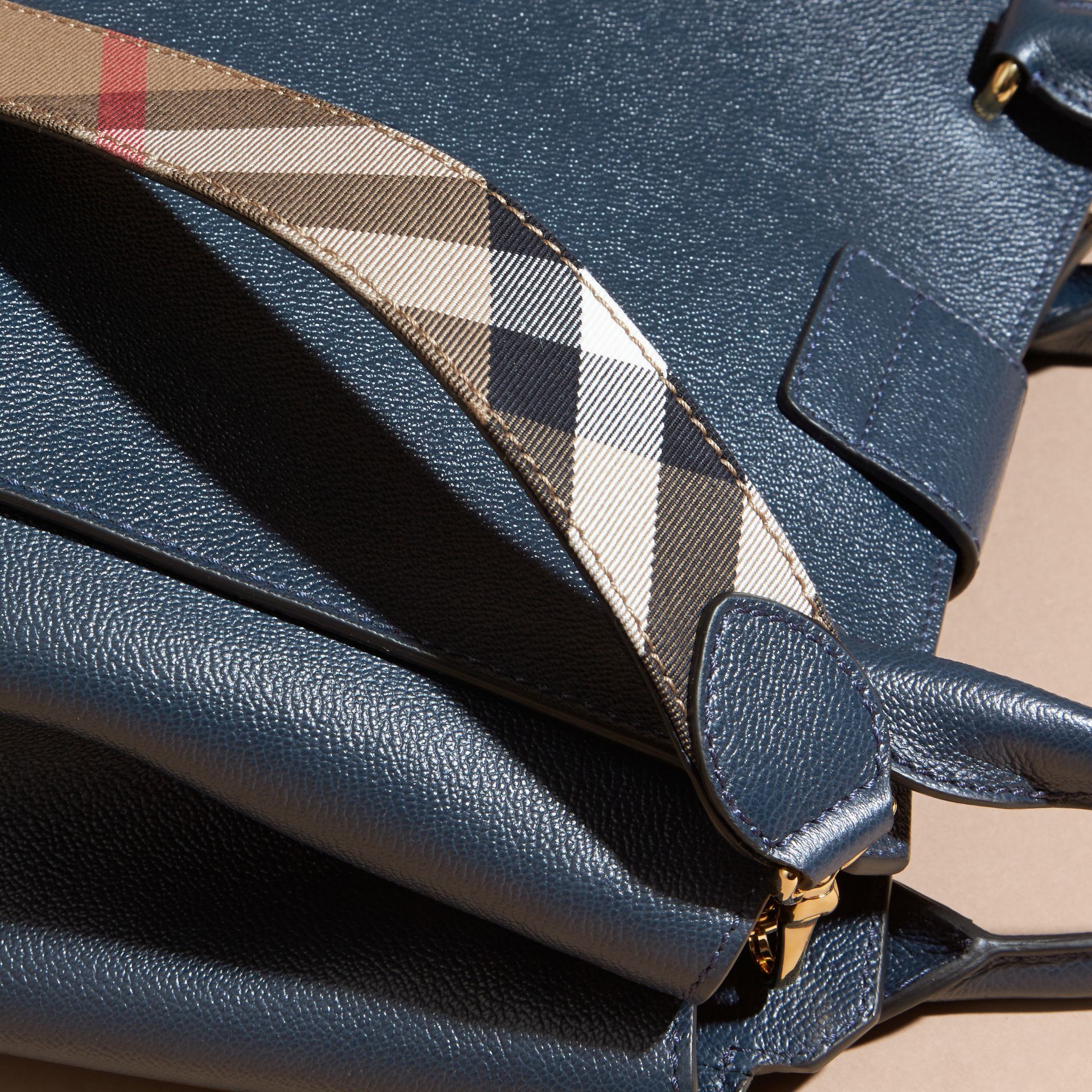 The Medium Buckle Tote in Grainy Leather Blue Carbon - gallery image 2