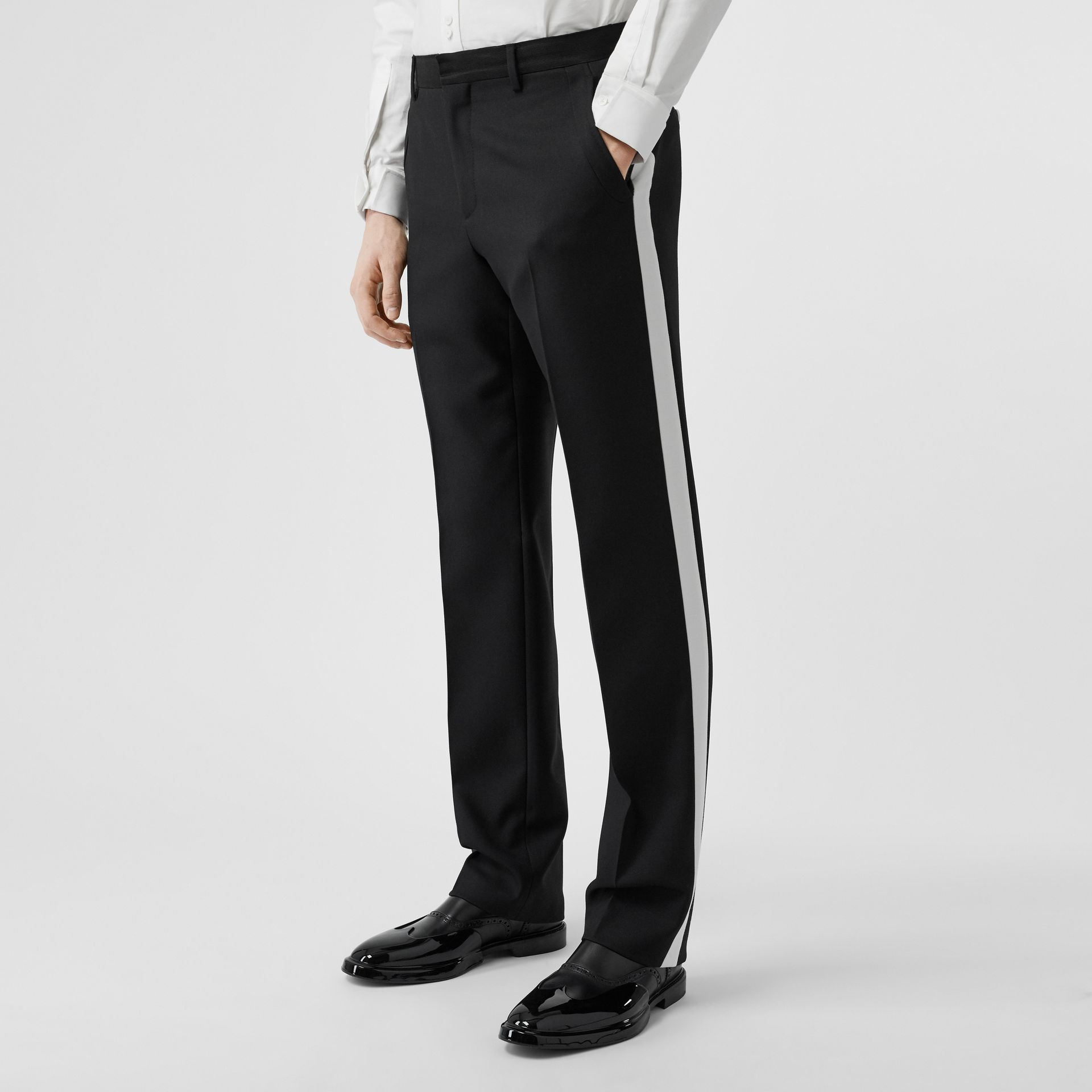 Stripe Detail Wool Twill Tailored Trousers in Black - Men | Burberry - gallery image 4