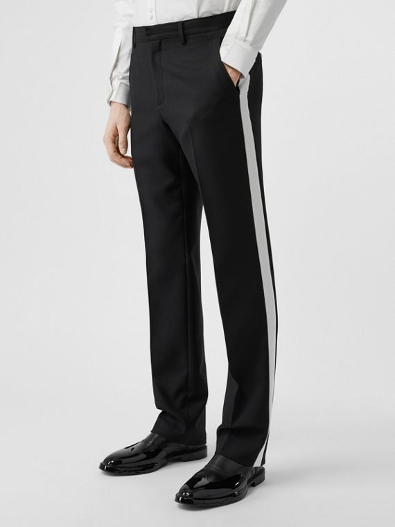 Stripe Detail Wool Twill Tailored Trousers in Black