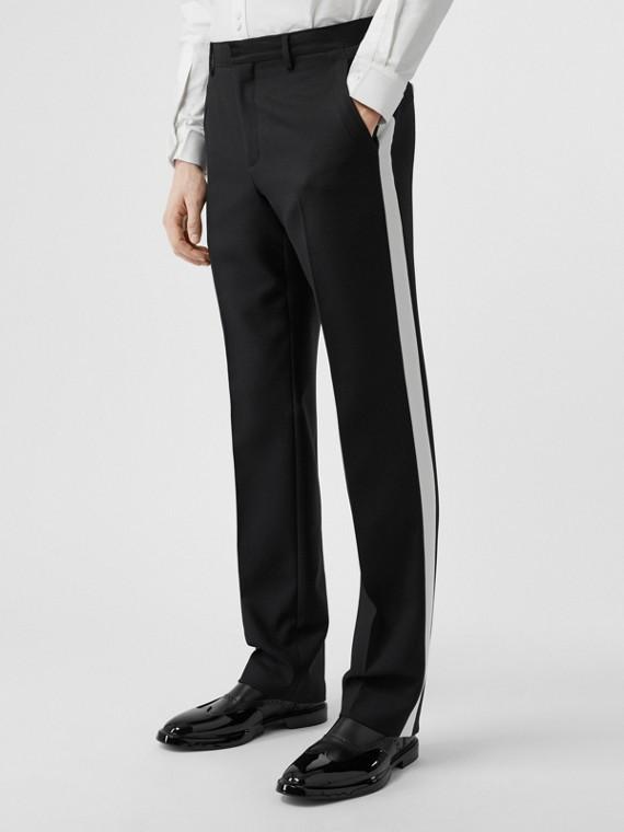 Pantalon de costume en sergé de laine à rayures (Noir)