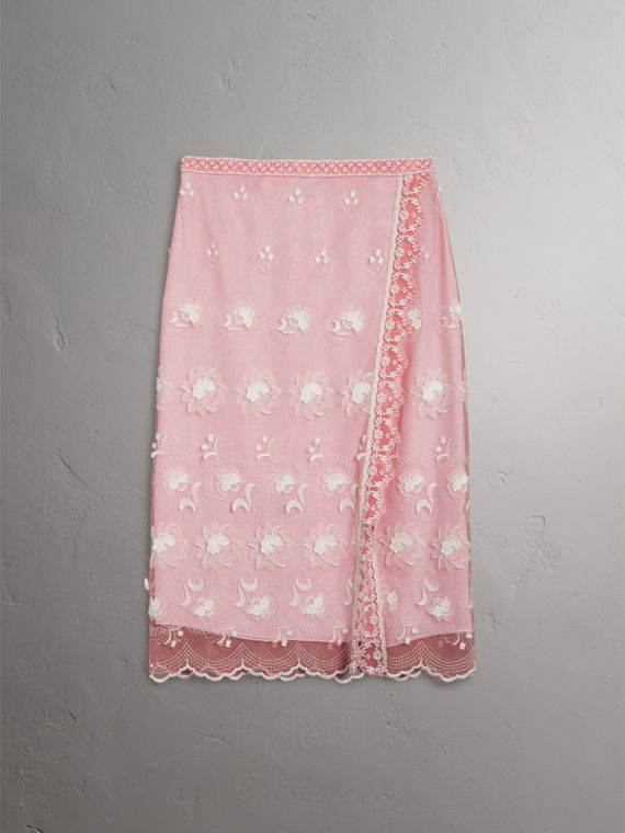 Chantilly Lace Trim Embroidered Tulle Skirt in Rose Pink/white - Women | Burberry - cell image 3