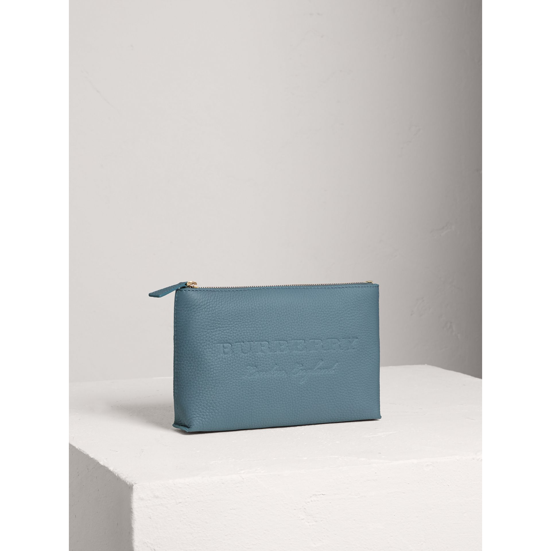 Medium Embossed Leather Zip Pouch in Dusty Teal Blue | Burberry - gallery image 4