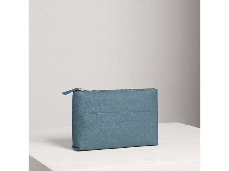 Medium Embossed Leather Zip Pouch in Dusty Teal Blue | Burberry - cell image 4