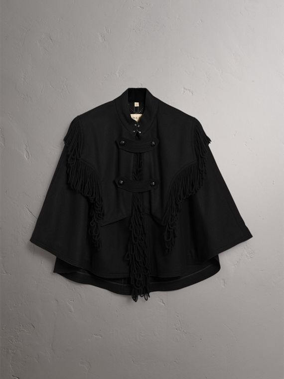 Fringed Wool Blend Military Cape in Black - Women | Burberry United States - cell image 3