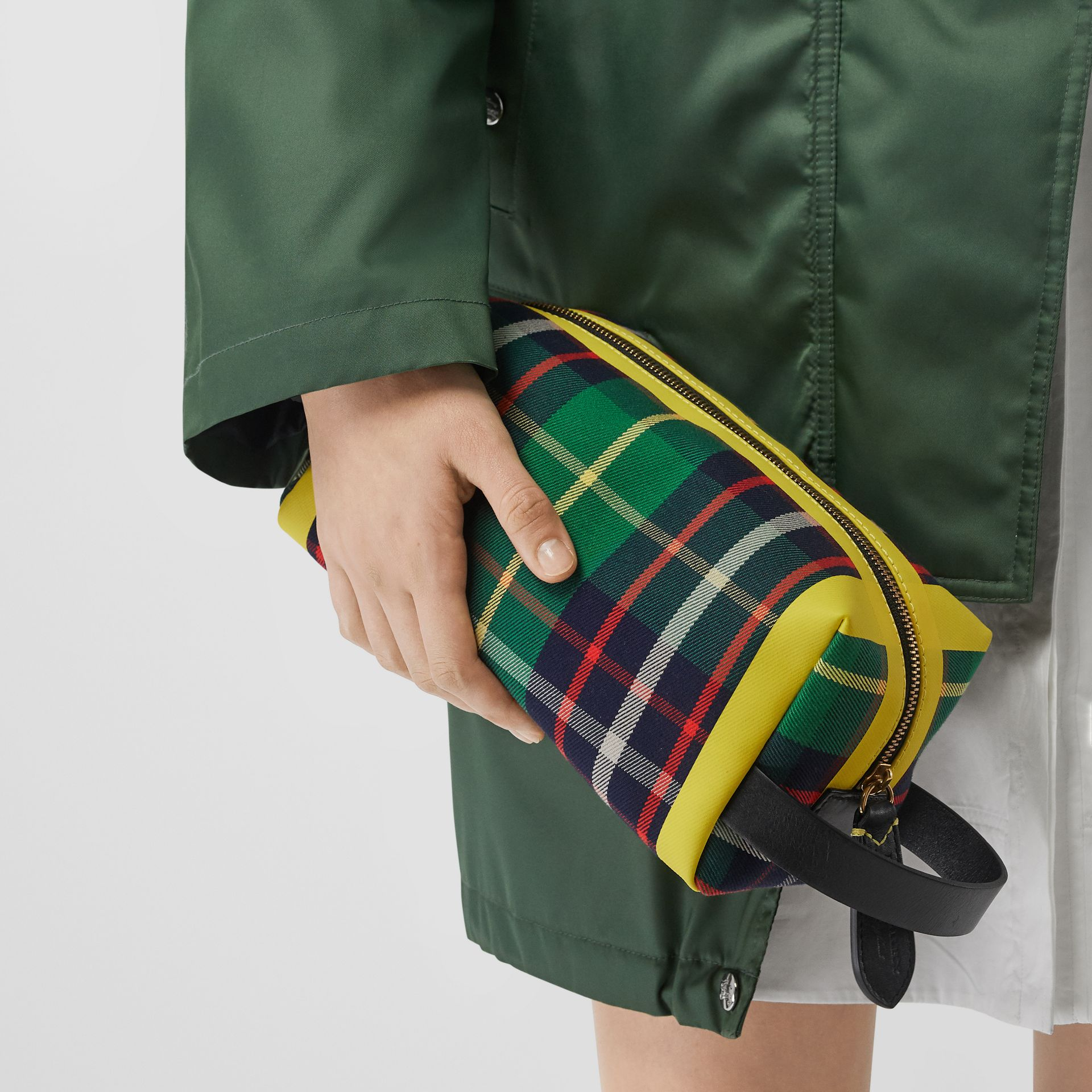 Tartan Cotton Pouch in Forest Green | Burberry - gallery image 2