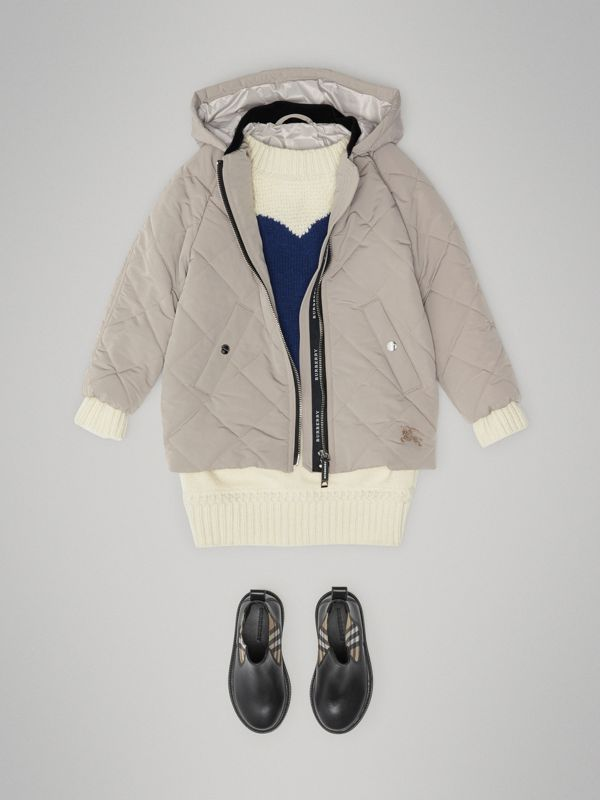 Diamond Quilted Hooded Jacket in Taupe | Burberry Canada - cell image 2