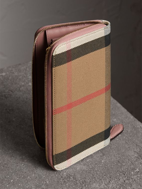 House Check and Leather Ziparound Wallet in Pale Orchid - Women | Burberry United Kingdom - cell image 2