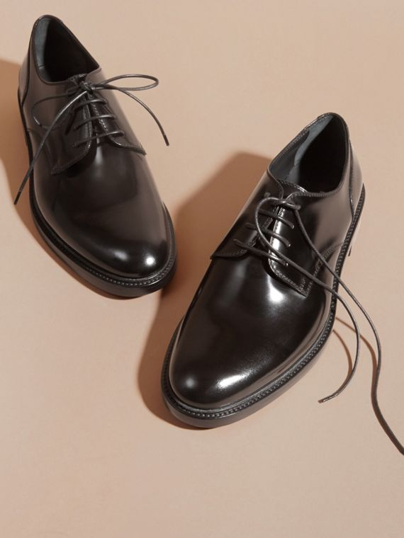 Black Leather Derby Shoes Black - cell image 2
