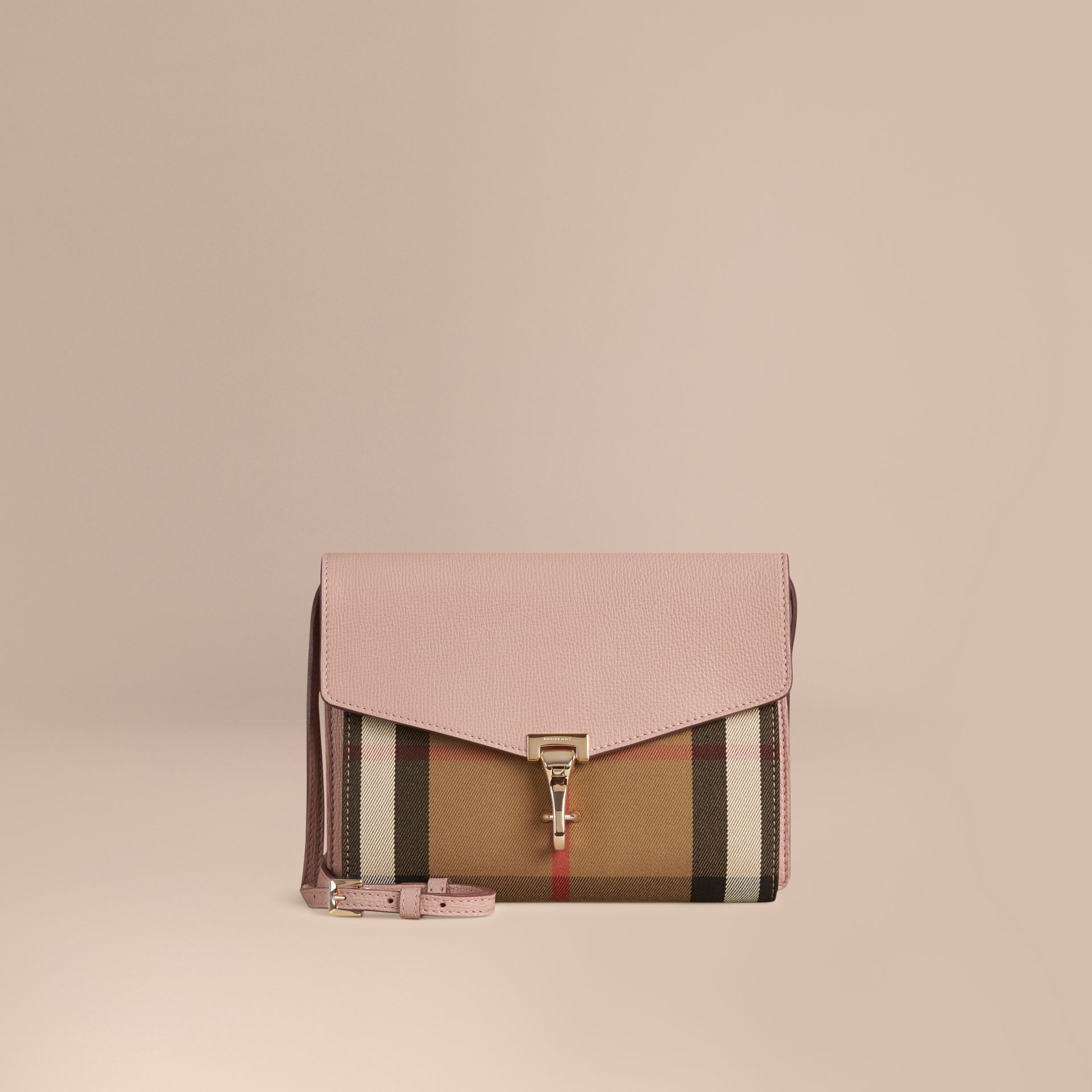Small Leather and House Check Crossbody Bag in Pale Orchid - gallery image 1