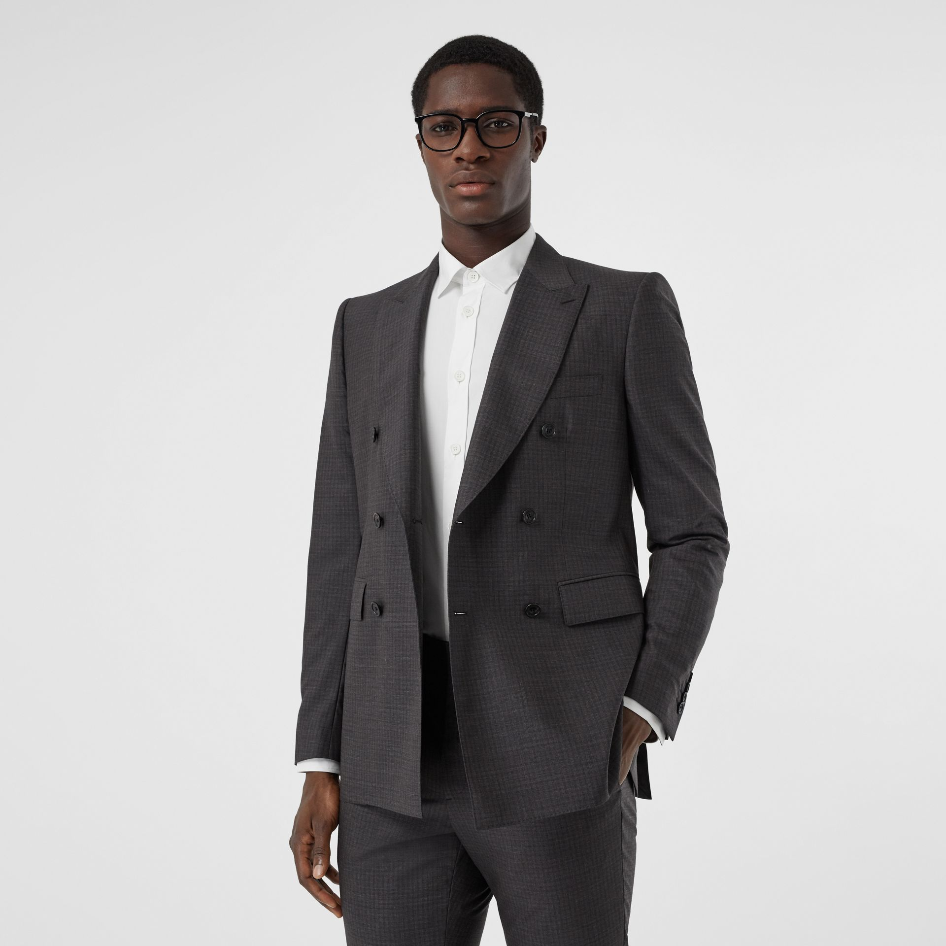 Classic Fit Windowpane Check Wool Silk Suit in Dark Grey - Men | Burberry - gallery image 6