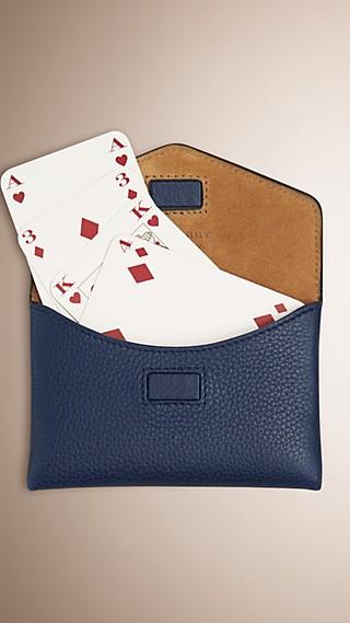 Étui pour jeu de cartes en cuir grené
