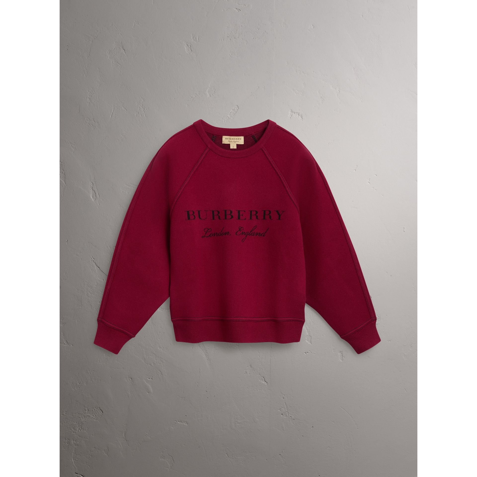 Topstitch Detail Wool Cashmere Blend Sweater in Burgundy - Women | Burberry - gallery image 3