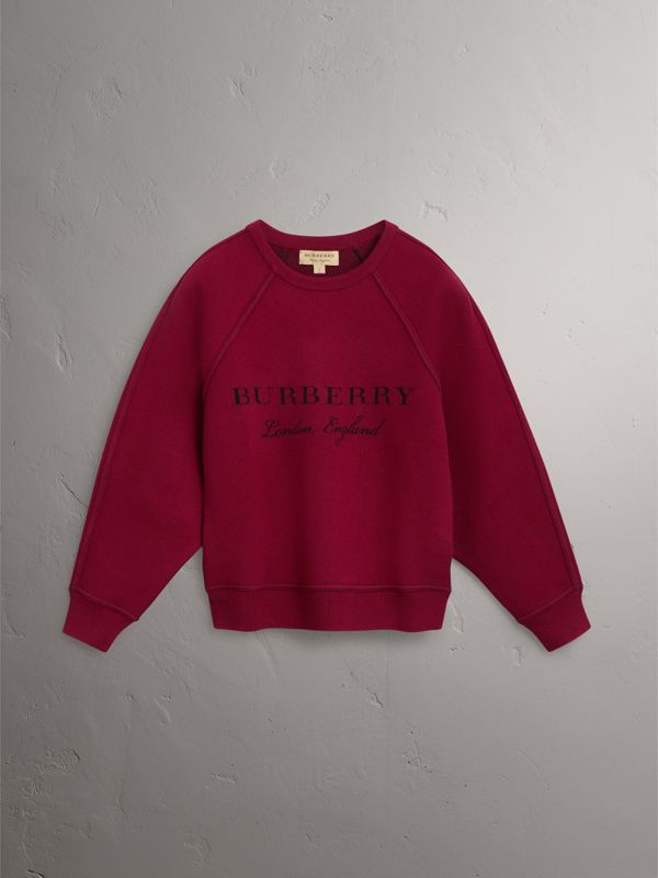 Topstitch Detail Wool Cashmere Blend Sweater in Burgundy - Women | Burberry - cell image 3