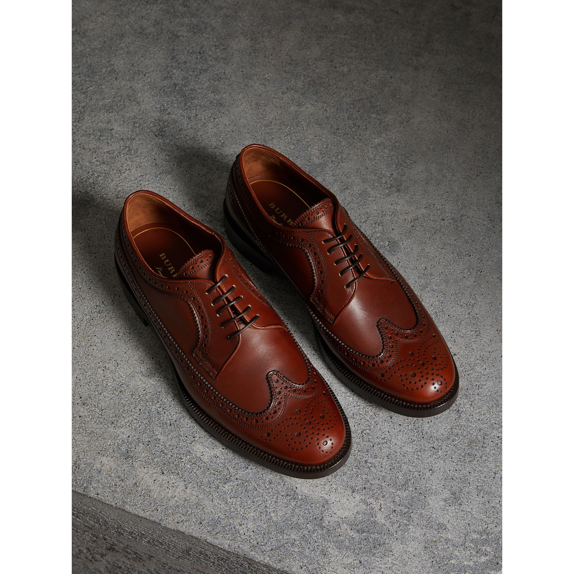 Leather Derby Brogues in Chestnut - Men | Burberry - gallery image 0