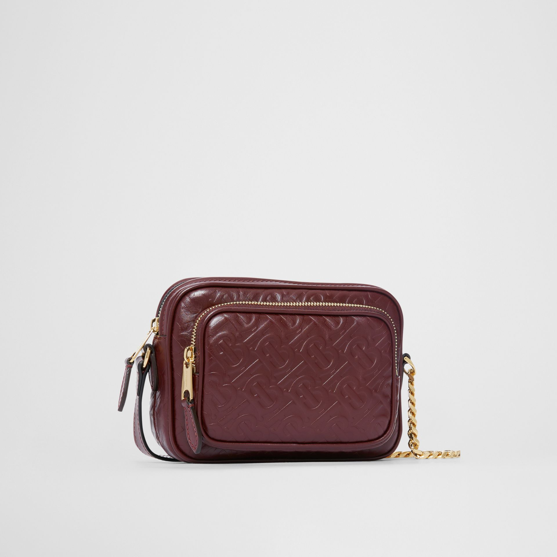 Monogram Leather Camera Bag in Dark Burgundy - Women | Burberry - gallery image 4