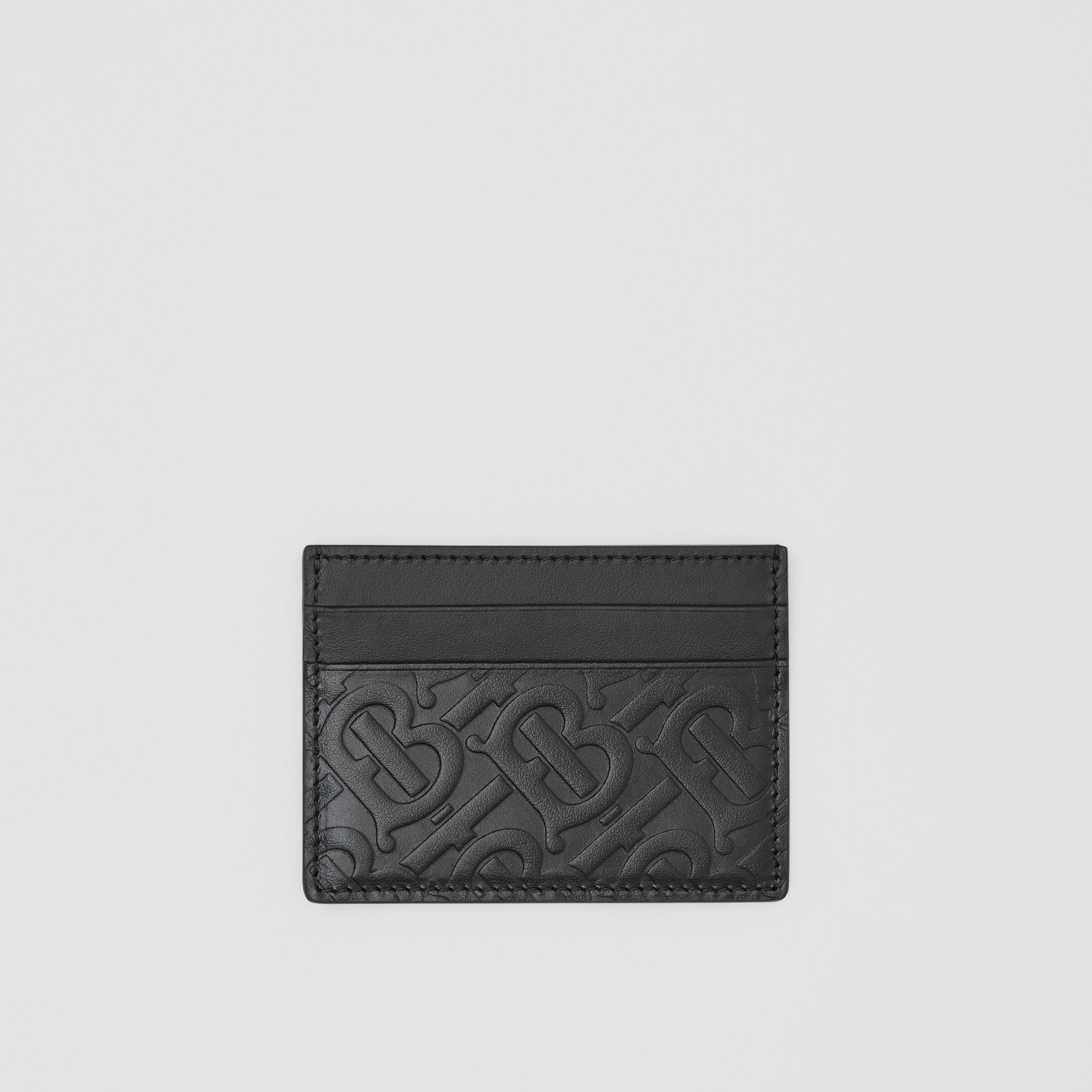 Monogram Leather Card Case in Black | Burberry Canada - 1