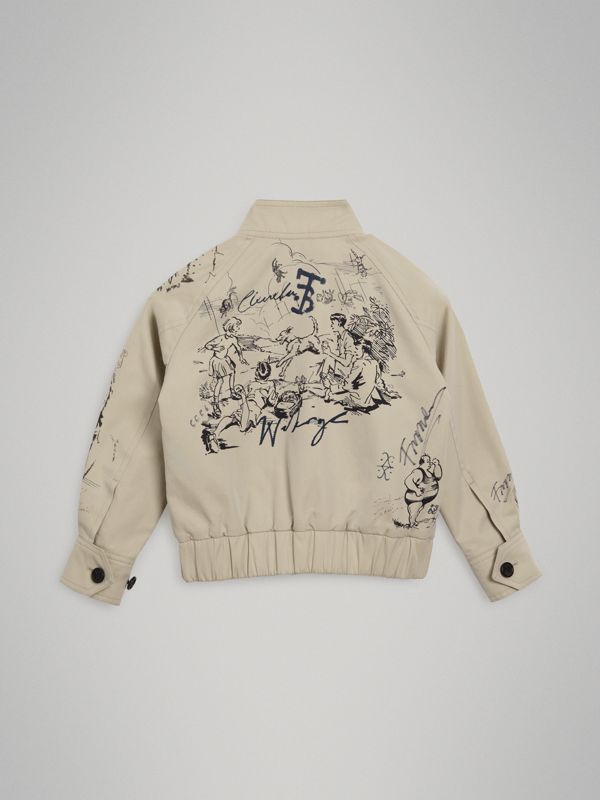 Adventure Print Gabardine Harrington Jacket in Stone | Burberry - cell image 3