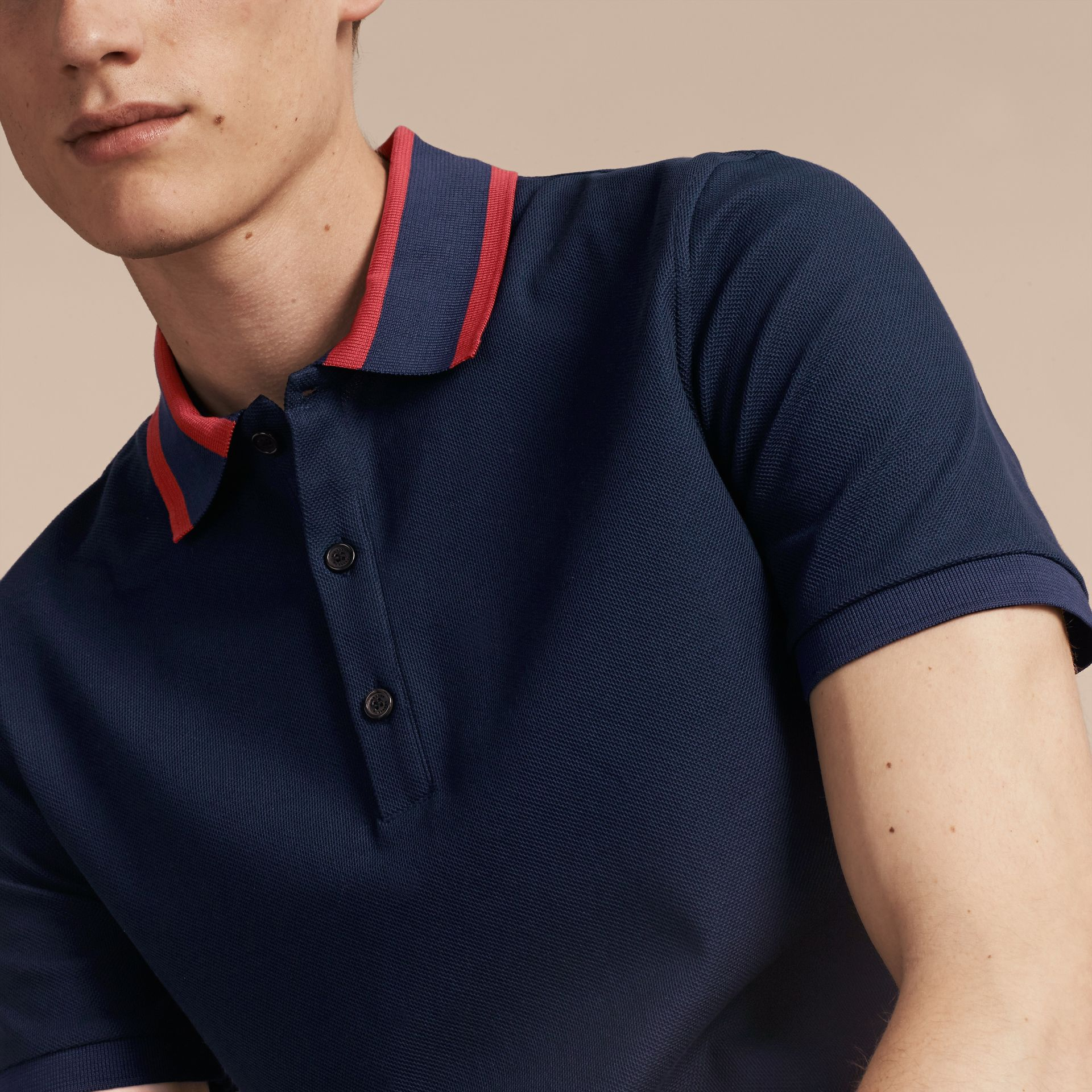 Striped Collar Cotton Piqué Polo Shirt Navy Blue - gallery image 5