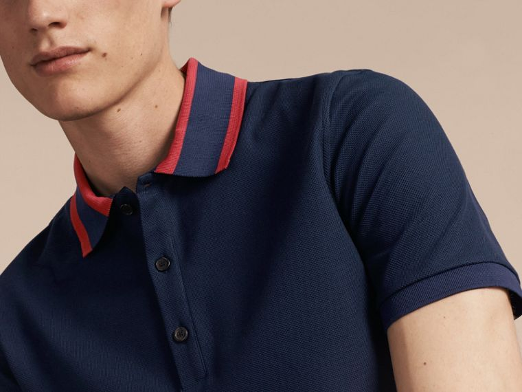 Striped Collar Cotton Piqué Polo Shirt in Navy Blue - cell image 4