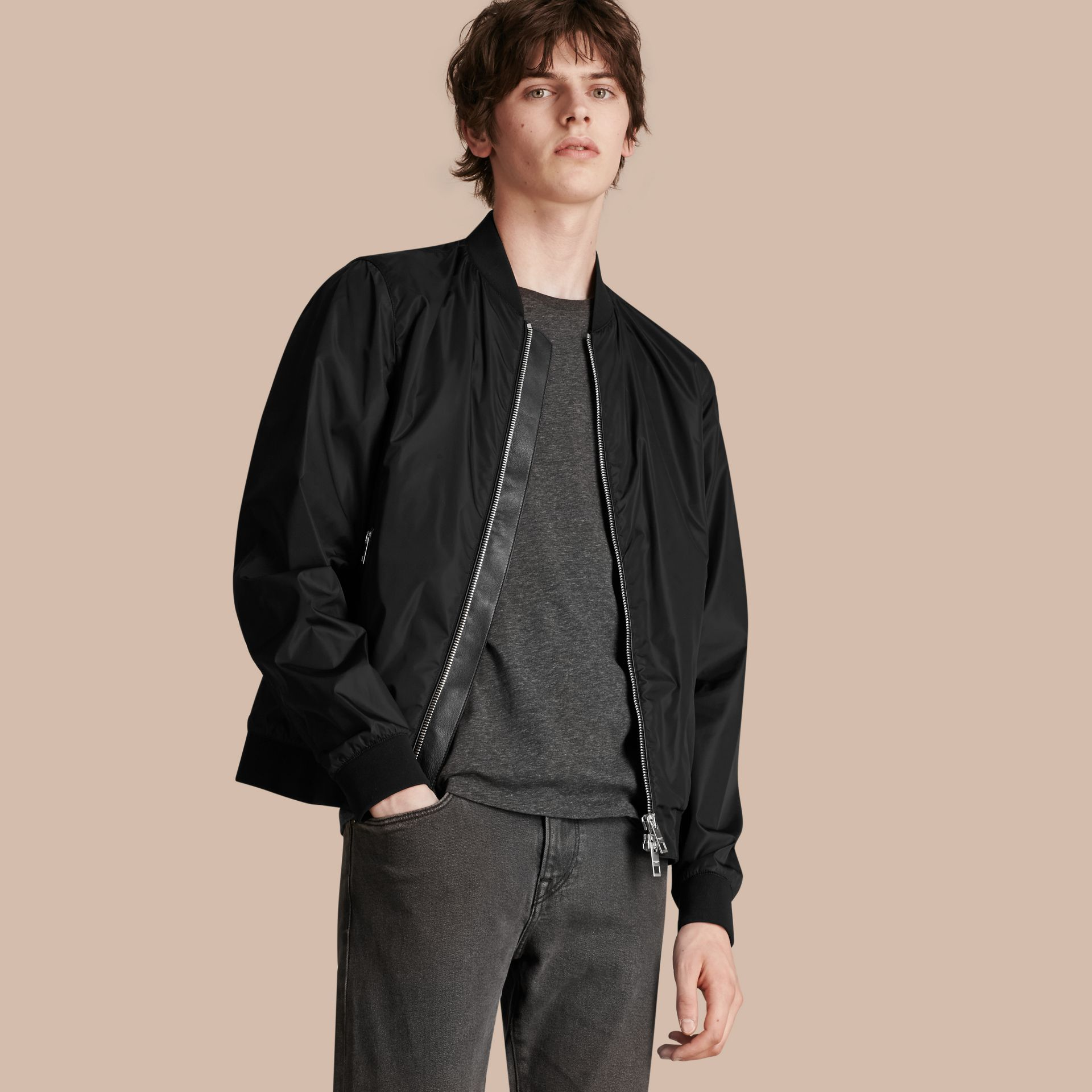 Black Showerproof Bomber Jacket - gallery image 1
