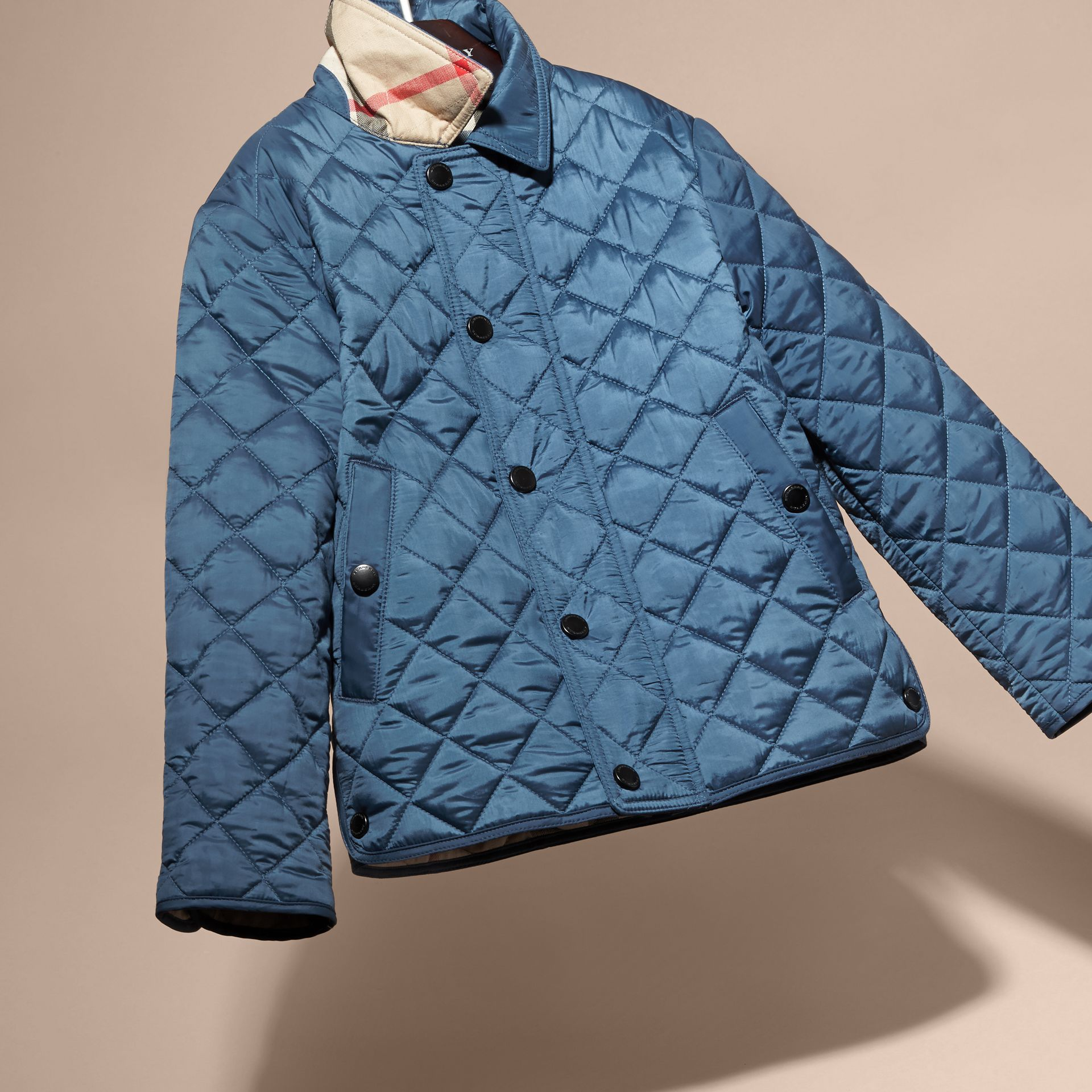 Diamond Quilted Jacket in Bright Steel Blue - gallery image 3