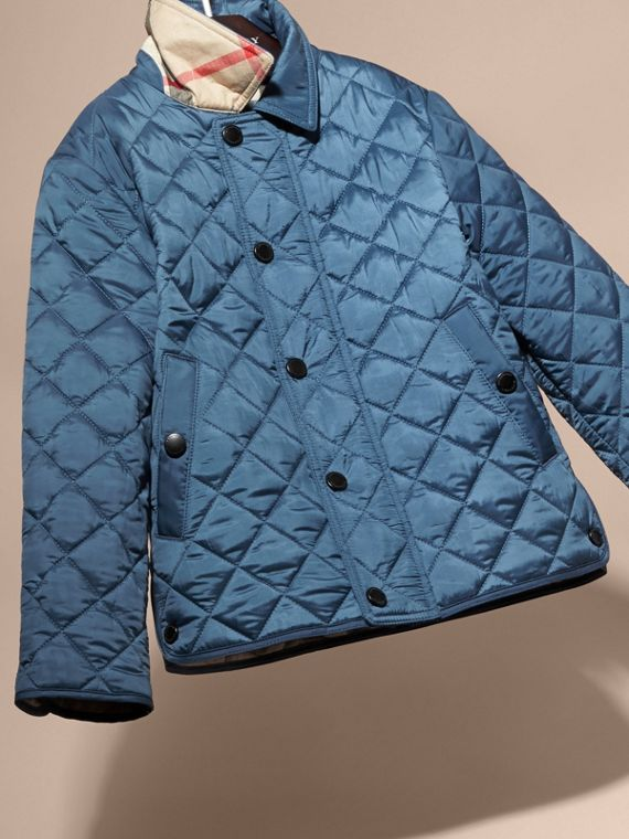 Diamond Quilted Jacket in Bright Steel Blue - cell image 2