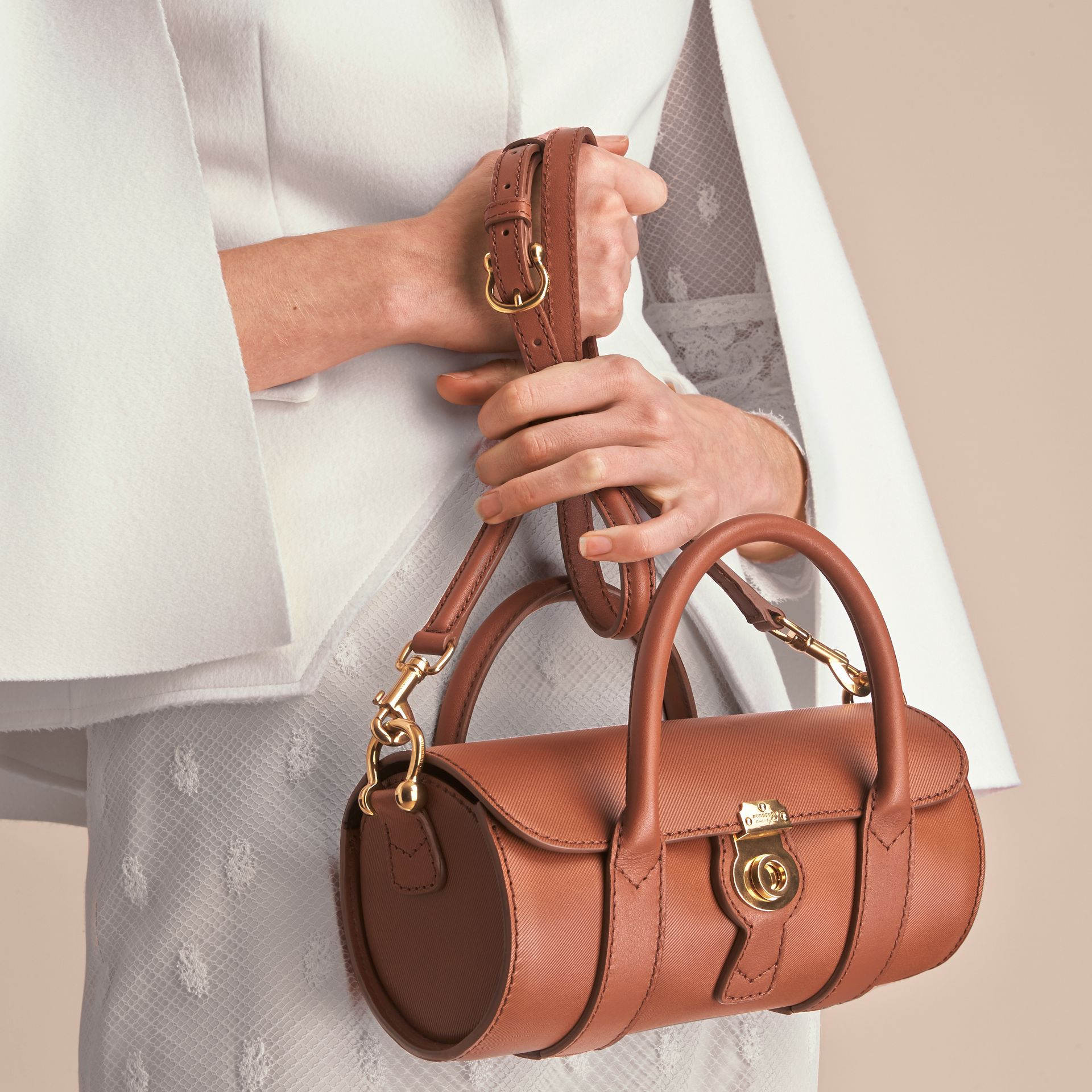 The Small DK88 Barrel Bag in Tan - Women | Burberry United States - gallery image 8