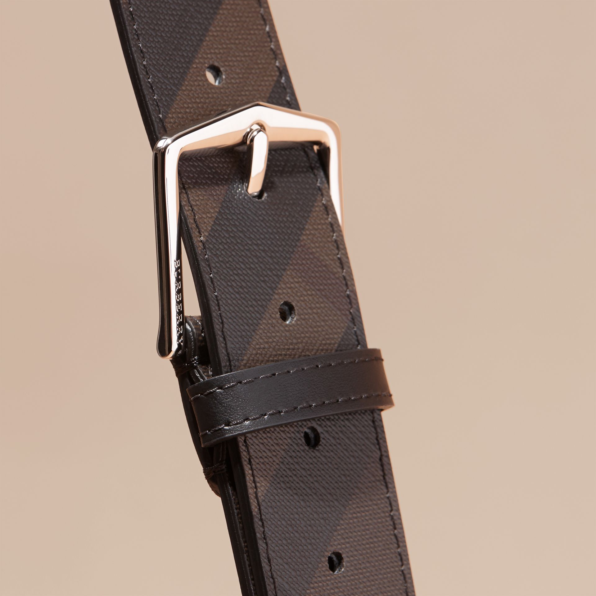Leather Trim London Check Belt in Chocolate/black - Men | Burberry - gallery image 2