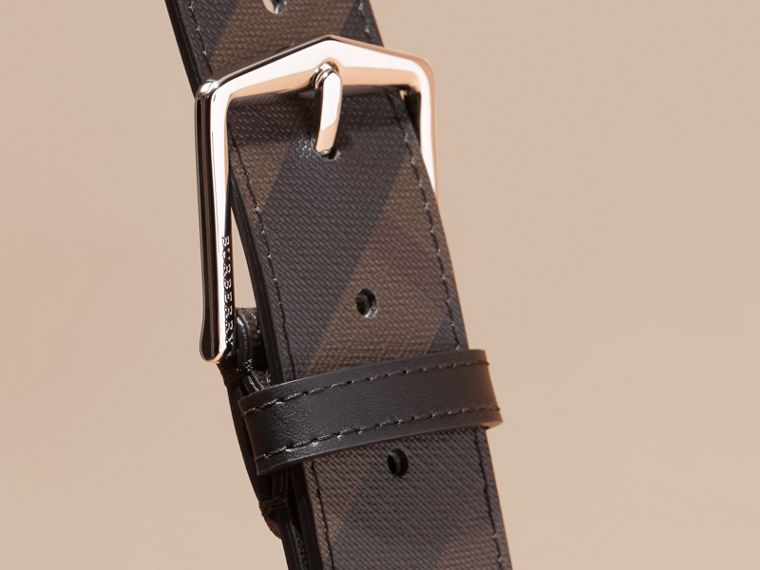 Leather Trim London Check Belt Chocolate/black - cell image 1