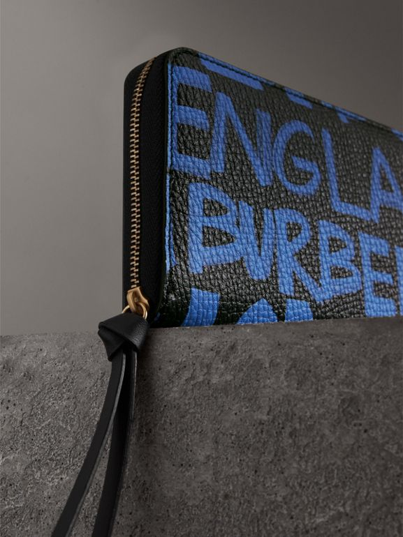 Graffiti Print Leather Ziparound Wallet in Blue/black - Women | Burberry Australia - cell image 1