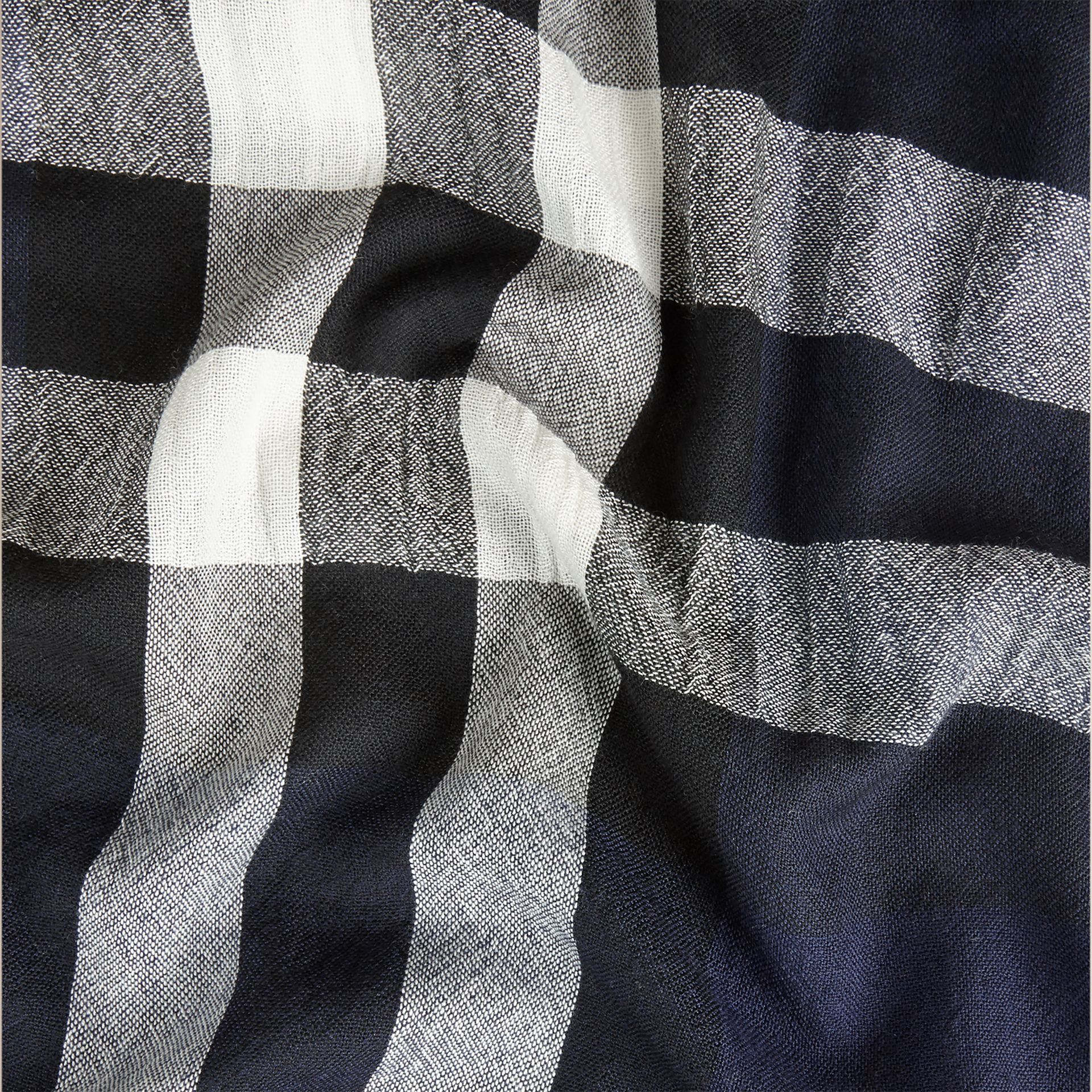 Lightweight Check Wool Cashmere Scarf Navy - gallery image 2