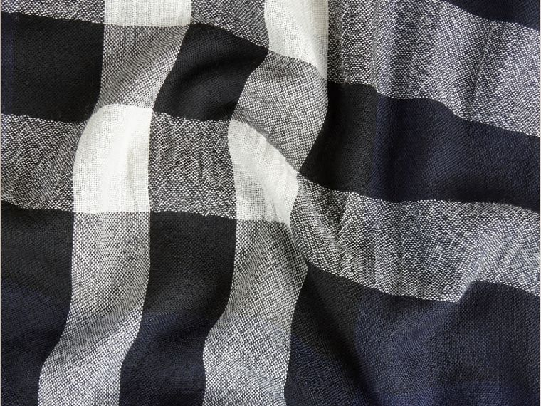 Lightweight Check Wool Cashmere Scarf in Navy - cell image 1