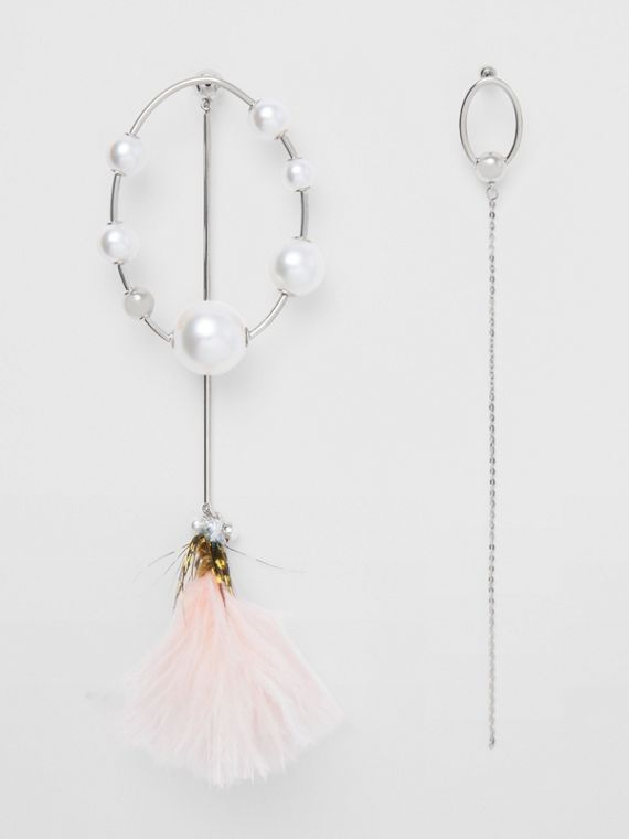 Faux Pearl and Feather Palladium-plated Drop Earrings in Palladio/pale Lemon