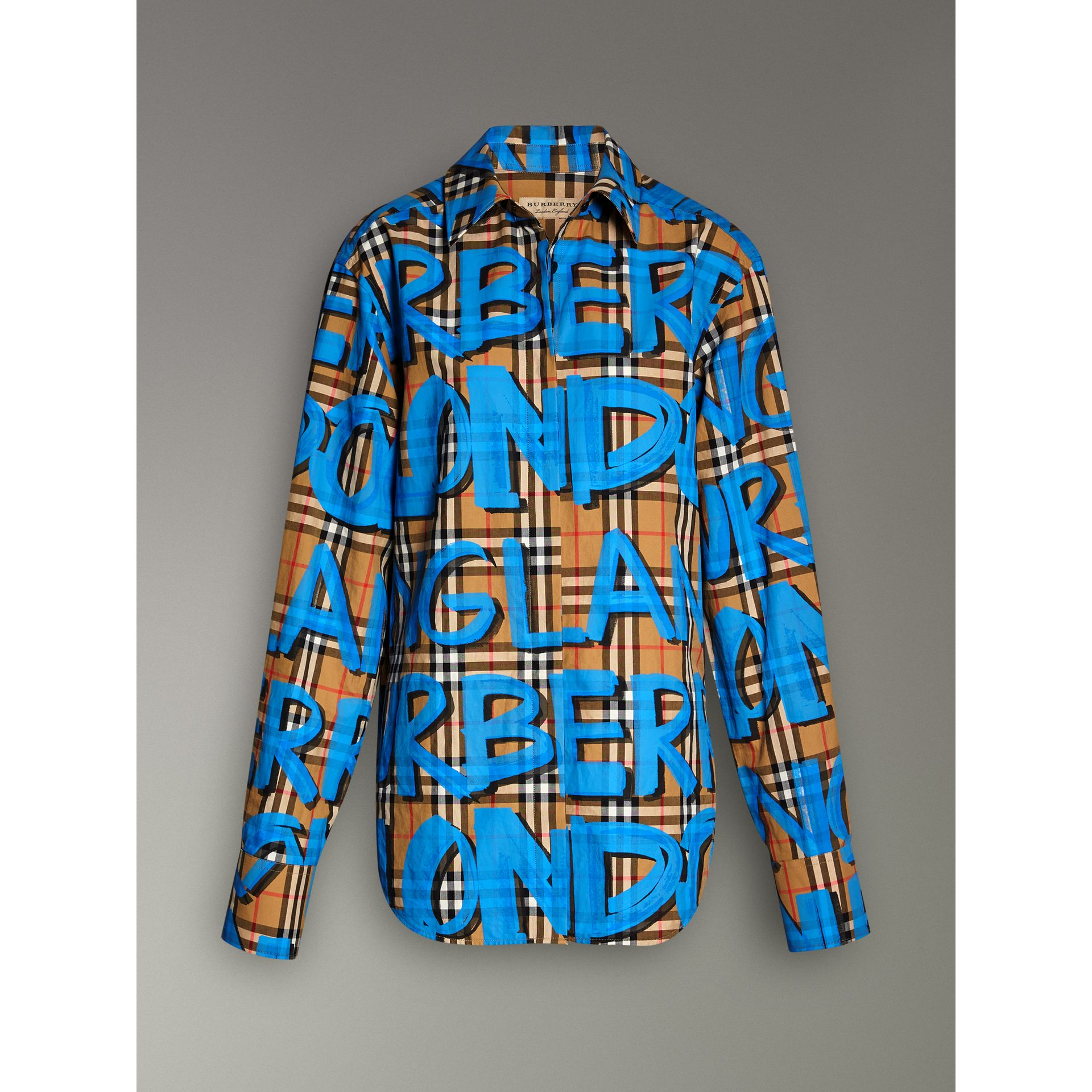 Graffiti Print Vintage Check Cotton Shirt in Bright Blue | Burberry - gallery image 3